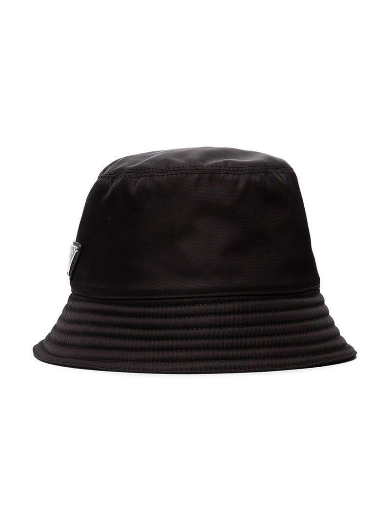 f2da152399e01b Lyst - Prada Black Logo Bucket Hat in Black for Men