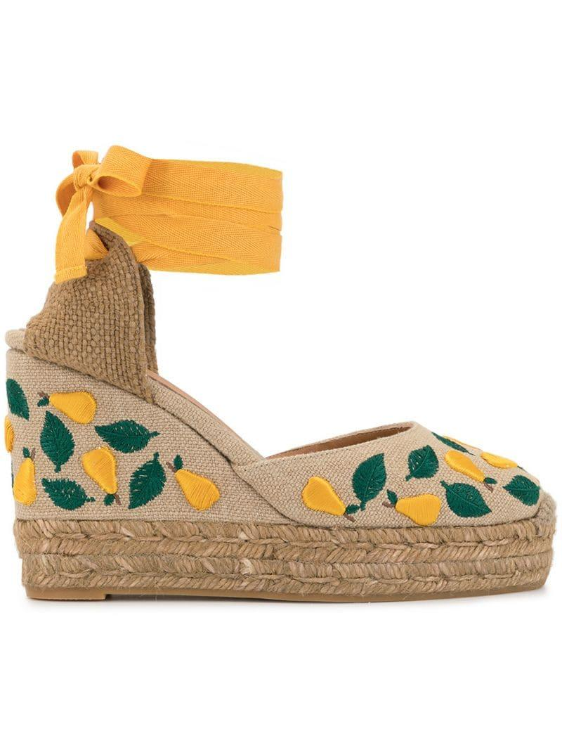 a7ab5c4cb688 Lyst - Castaner Carina Embroidered Wedges in Orange