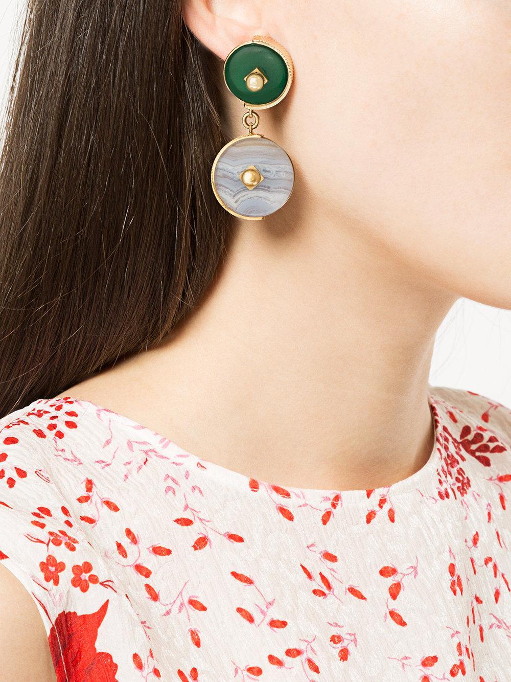 Crystalline Lace Agate earrings - Green ZT3Ym4M