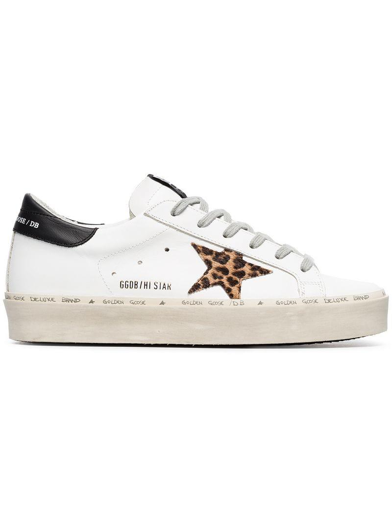 720a211a9d9 Golden Goose Deluxe Brand White Leo Star Leather Sneakers in White ...