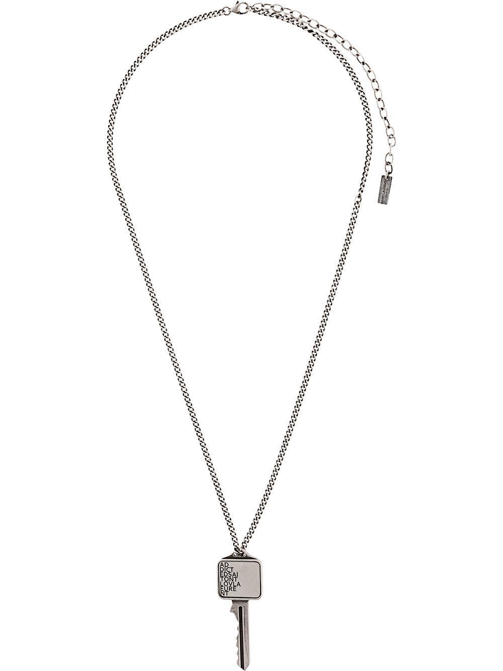 c293bf62f76 Saint Laurent Etched Key Pendant Necklace in Metallic for Men - Lyst