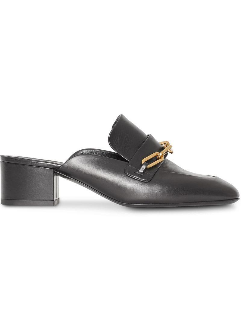 597ed3d7bd7 Lyst - Burberry Link Detail Leather Block-heel Mules in Black