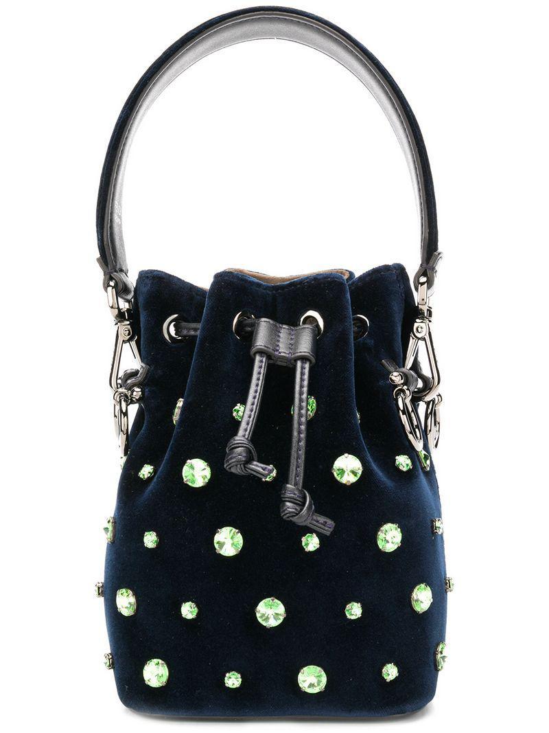 6031a4f720b7 Lyst - Fendi Crystal Embellished Bucket Bag in Blue