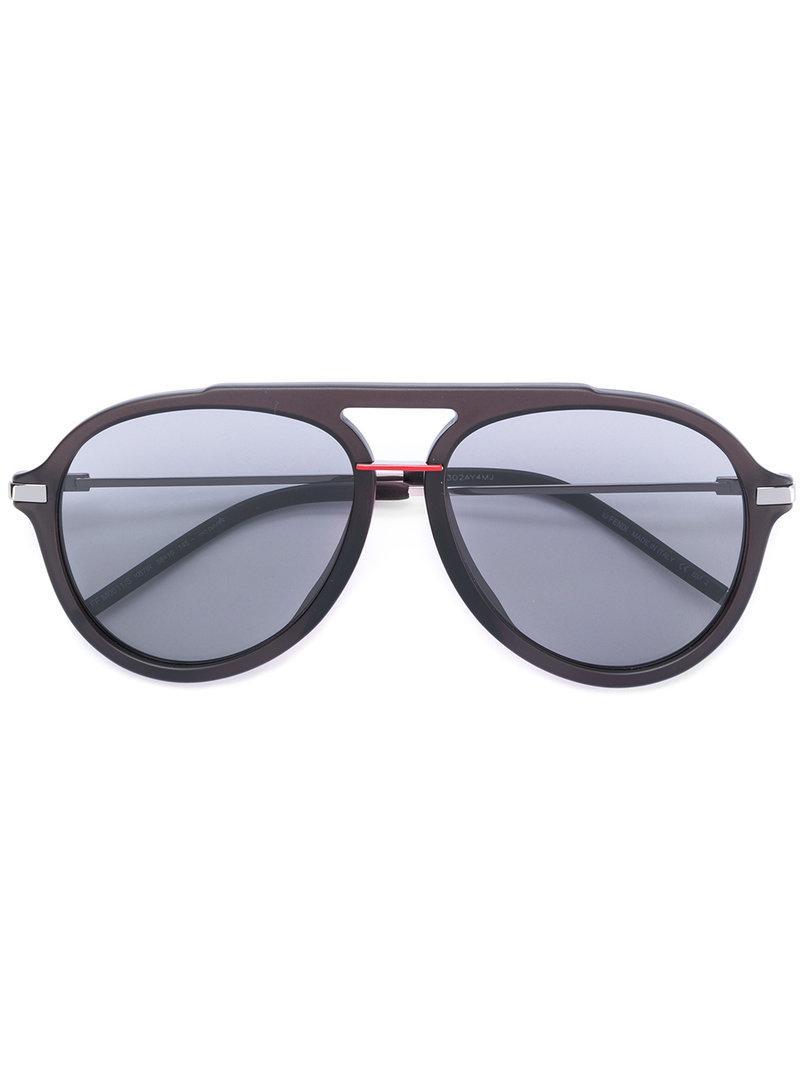683f32cba3 Lyst - Fendi Thick Frame Aviator Sunglasses in Gray for Men