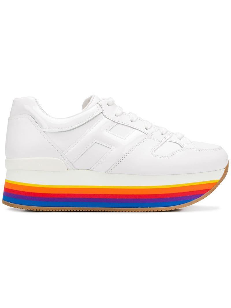 cfdf5353fdc9dd Lyst - Hogan Sneakers mit Regenbogen-Sohle in Weiß