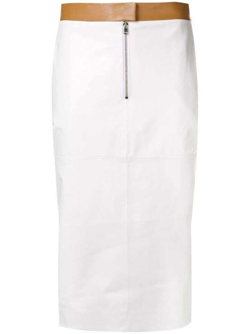 1a59588b4b Lyst - Victoria Beckham Contrast Pencil Skirt in White
