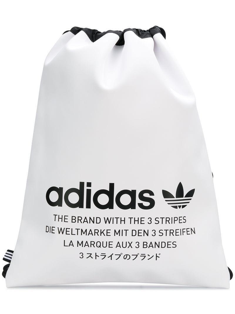 Lyst Adidas Logo Print Drawstring Backpack In White Bag Shark Gallery