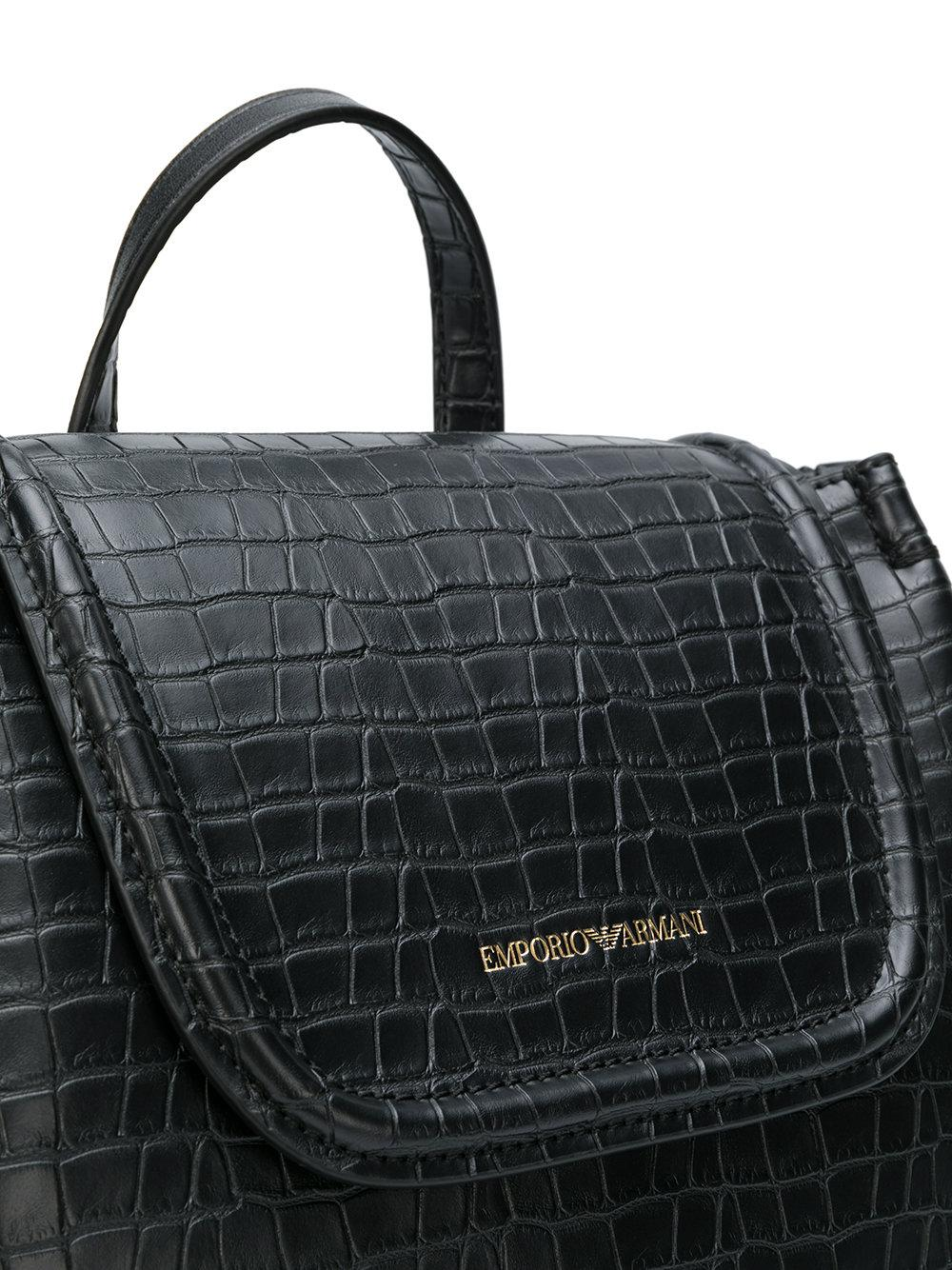 c5798568838 Lyst - Emporio Armani Croc Embossed Backpack in Black
