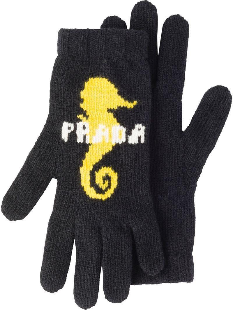 981a2b95bbcf3 Lyst - Prada Intarsien-Handschuhe mit Seepferdchen in Blau