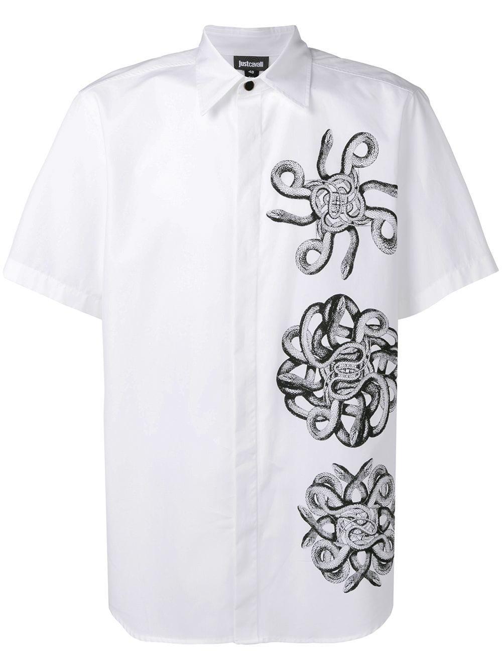 4678e4d7 Just Cavalli - White Snake Print Short-sleeve Shirt for Men - Lyst. View  fullscreen