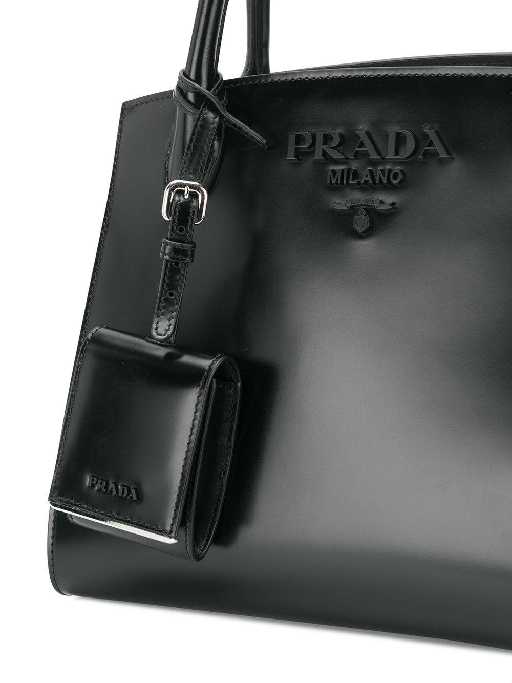ffa21a2a2649 Prada Monochrome Paradigme Tote Bag in Black - Lyst