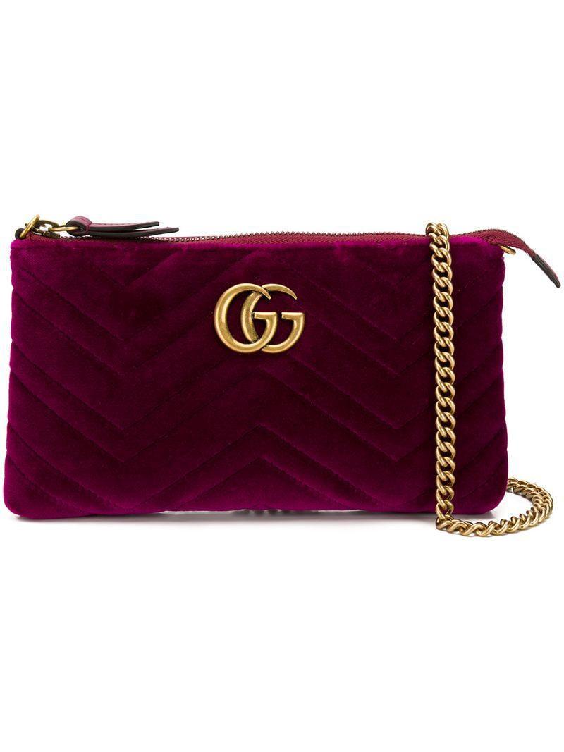 963e55cccada Lyst - Gucci GG Marmont Mini Bag in Purple