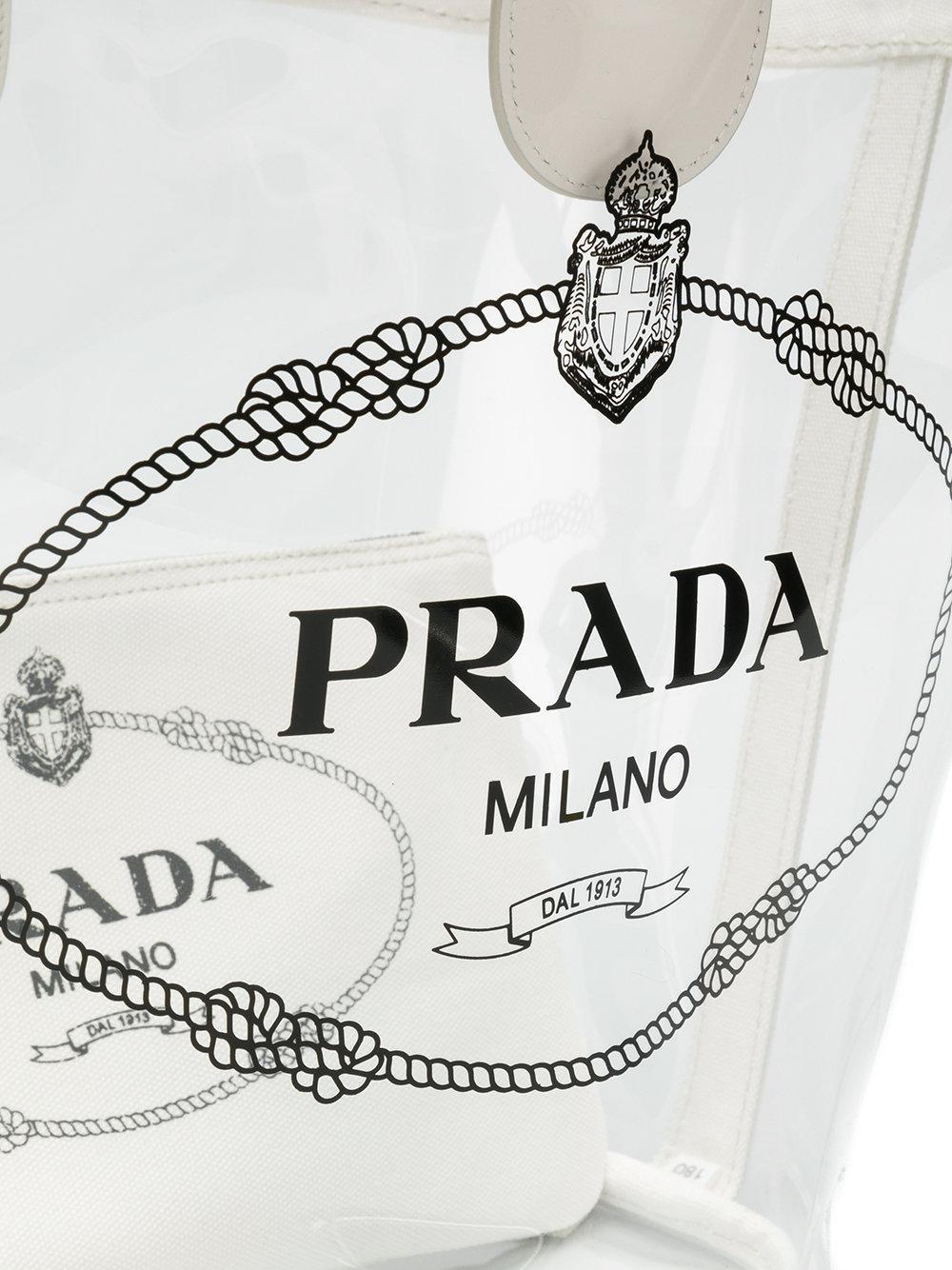 2ddf22654412 Lyst - Prada Transparent Logo Print Tote in White