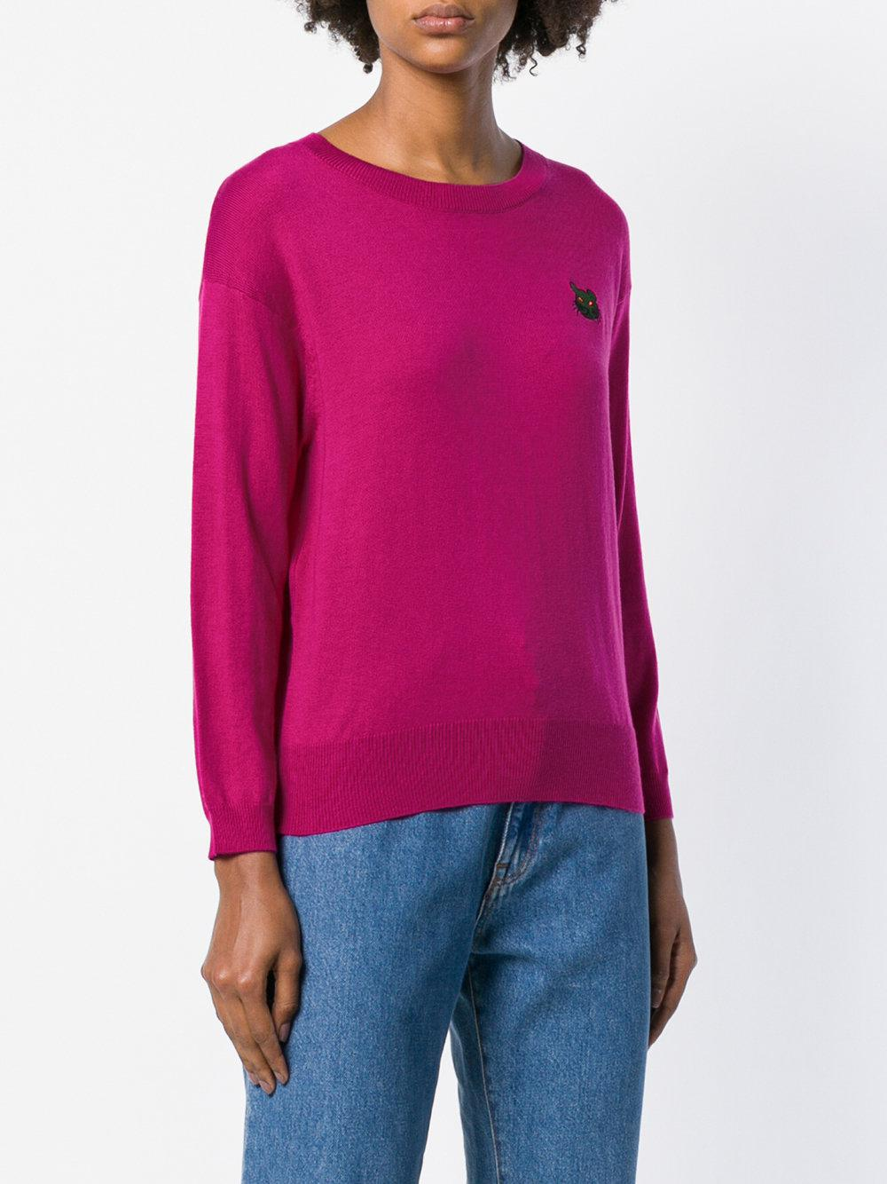 essentiel-antwerp-Pink-Purple-Embroidered-Cat-Sweater.jpeg 0a05c6a2e92