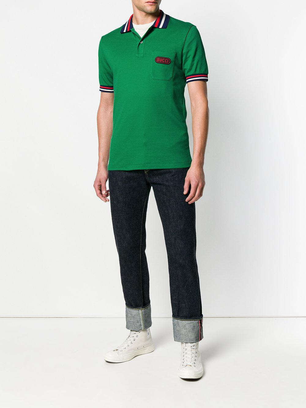 09361913a Gucci Logo Patch Polo Shirt in Green for Men - Lyst