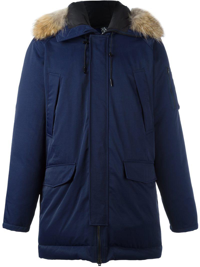 Lyst Kenzo Raccoon Fur Trim Puffer Coat In Blue For Men
