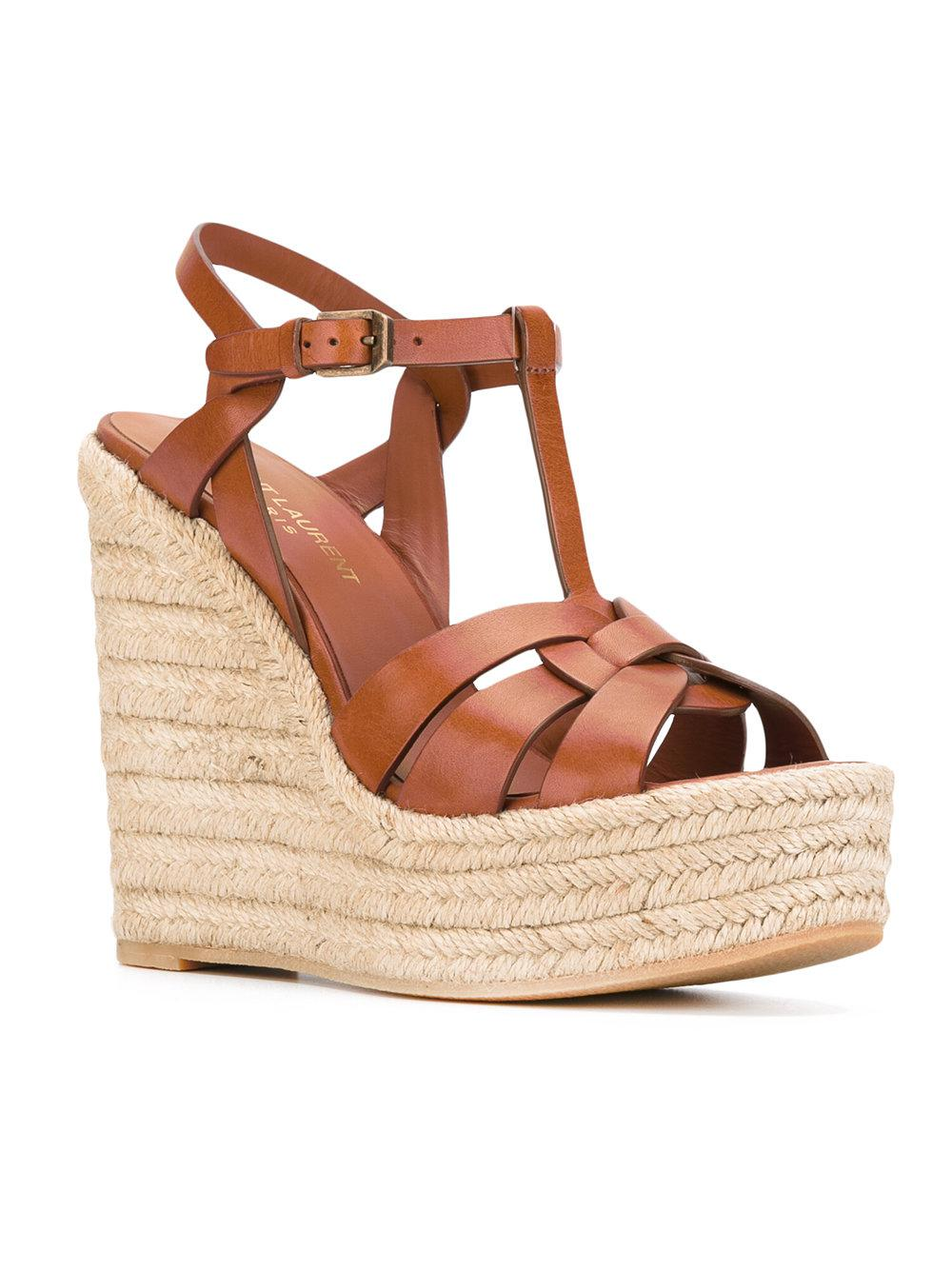 f2f91e833151 Lyst - Saint Laurent Tribute Espadrille Wedged Sandals in Brown - Save 40%