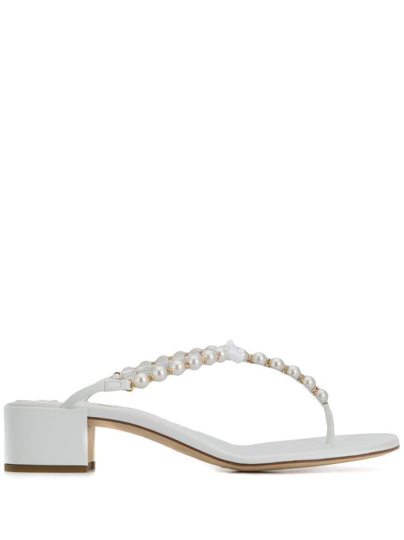 b5cc23e1e Rene Caovilla Pearl Strap Sandals in White - Lyst