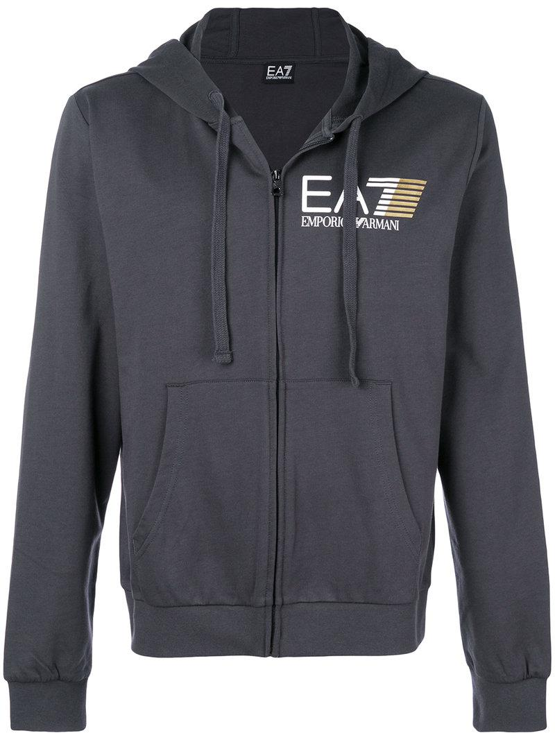 2fcd1a88529 EA7 - Gray Zip Front Logo Hoodie for Men - Lyst. View Fullscreen