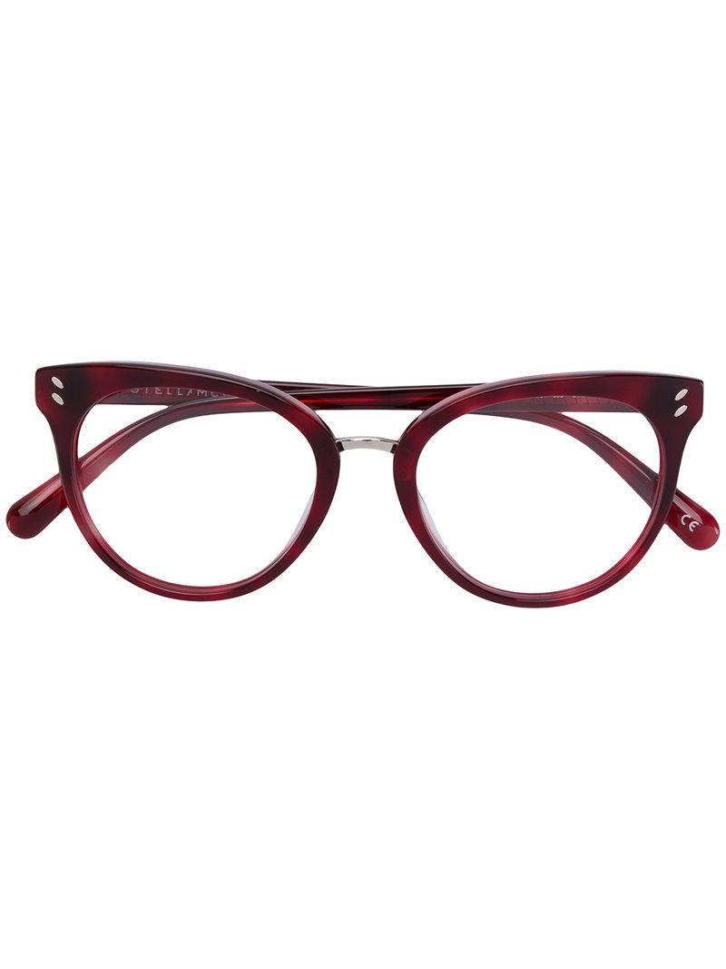 f87044c92c0 Stella McCartney Round Frame Glasses in Red - Lyst
