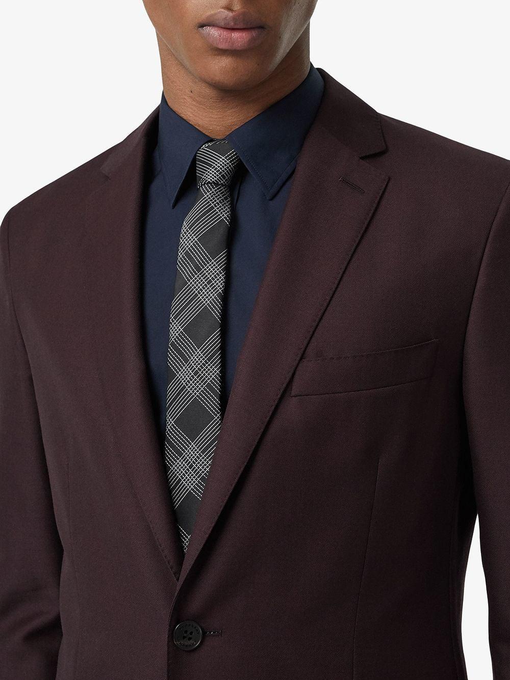 fa124cdccbda Lyst - Burberry Modern Cut Check Silk Jacquard Tie in Black for Men