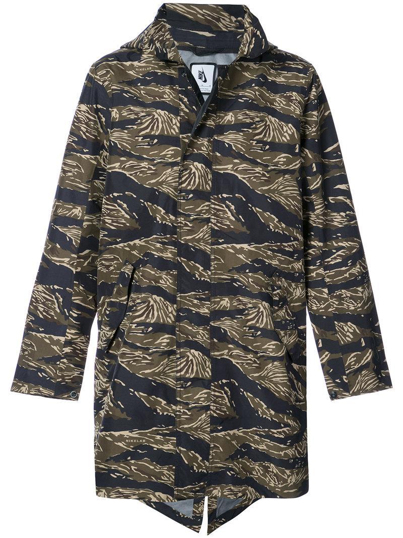 lyst nike lab essentials tiger camo parka jacket in. Black Bedroom Furniture Sets. Home Design Ideas