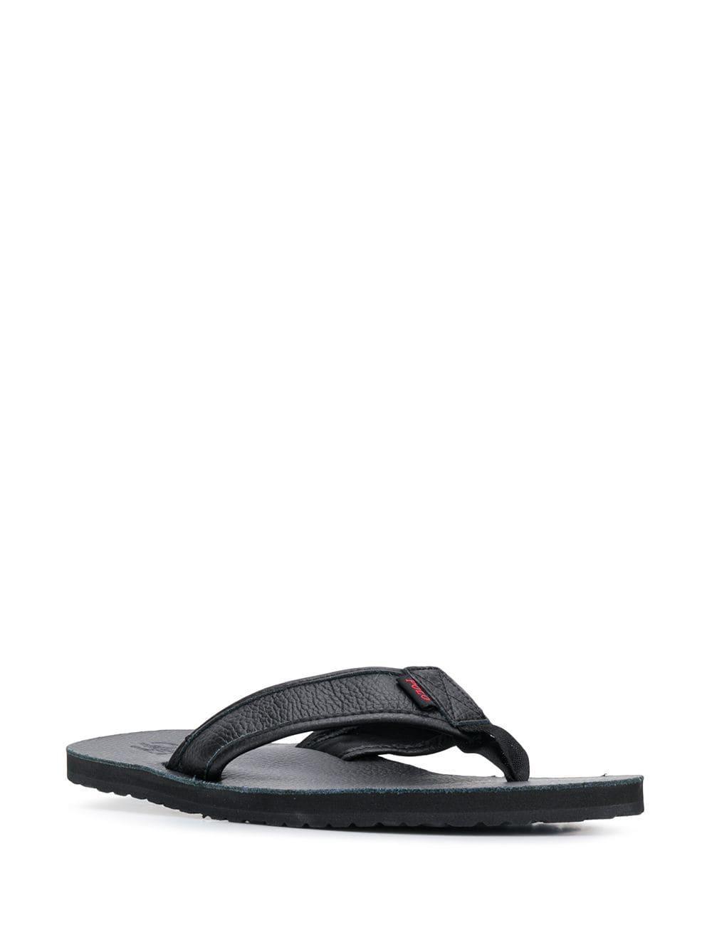 f135345fbe2a Polo Ralph Lauren Embossed Logo Flip-flops in Black for Men - Lyst