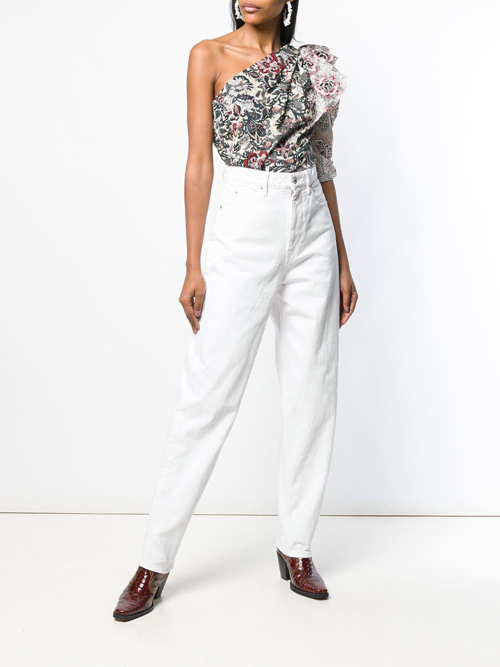 42165380304147 Lyst - Étoile Isabel Marant Floral Print One Shoulder Top in White