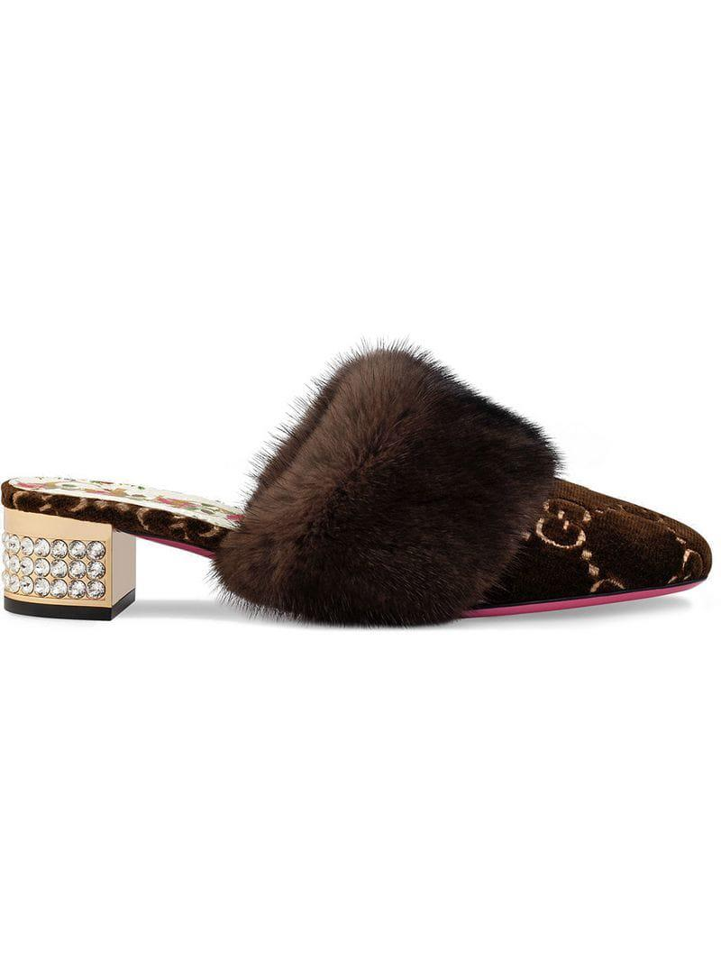 f14758543ba Lyst - Gucci GG Velvet Slide With Mink Fur in Brown - Save 40%