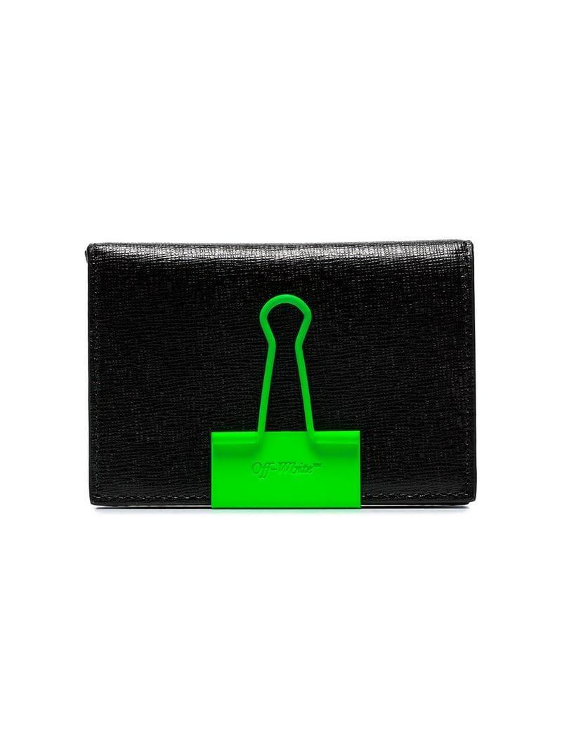 8787a234482f Lyst - Off-White c o Virgil Abloh Black Binder Clip Leather Wallet ...