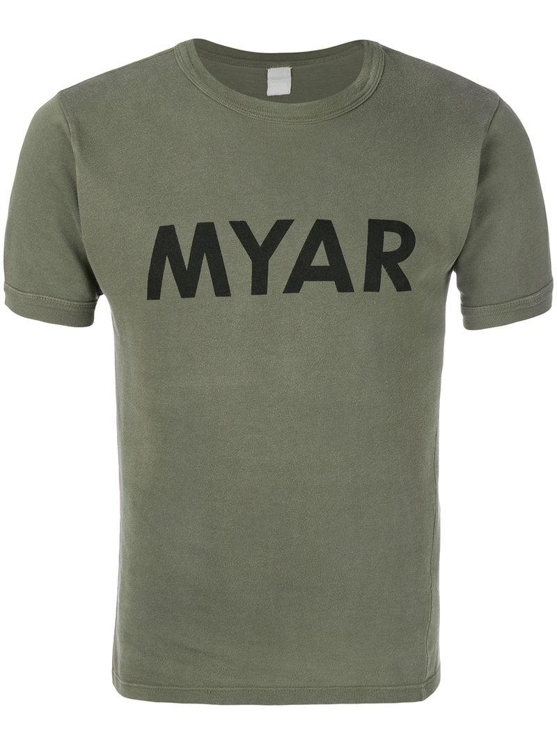 Lyst myar logo print t shirt in green for men for Shirts with logo print