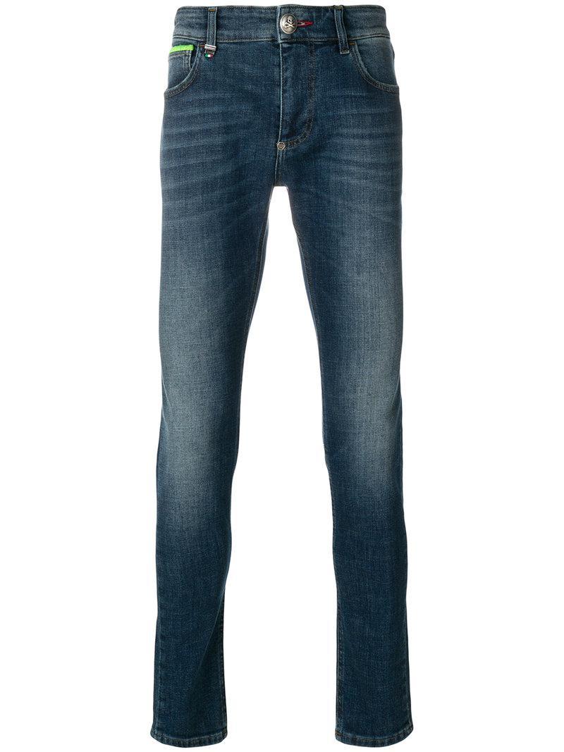 lyst philipp plein skinny jeans in blue for men. Black Bedroom Furniture Sets. Home Design Ideas