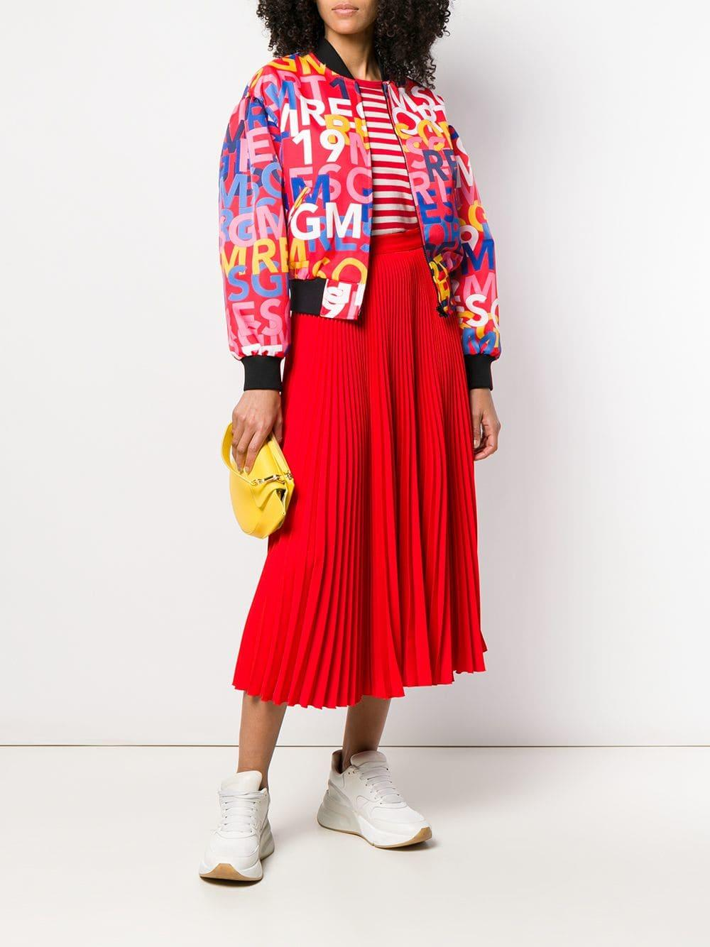 8729f92791 Lyst - MSGM Logo Bomber Jacket in Red