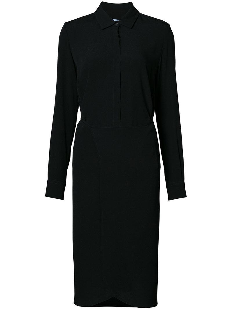 Lyst rosetta getty midi shirt dress in black for Midi shirt dress black