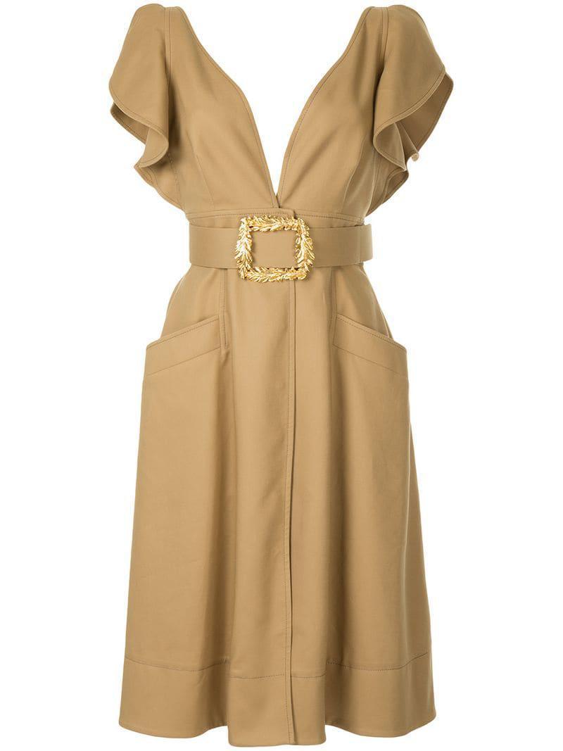 c513bfa3995 Lyst - Oscar de la Renta Belted Midi Dress in Brown