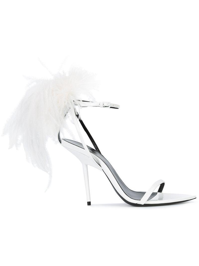 Saint Laurent Feather trim Opyum sandals AsneI0YG