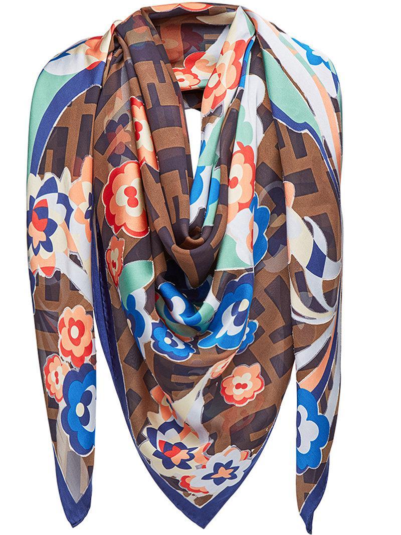 4685e4d97c7 Lyst - Fendi Floral Logo Shawl Scarf in Brown