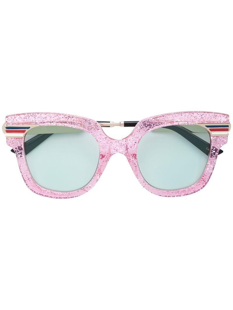 84ce9ea79fcda Gucci Oversized Glitter Sunglasses in Pink - Lyst