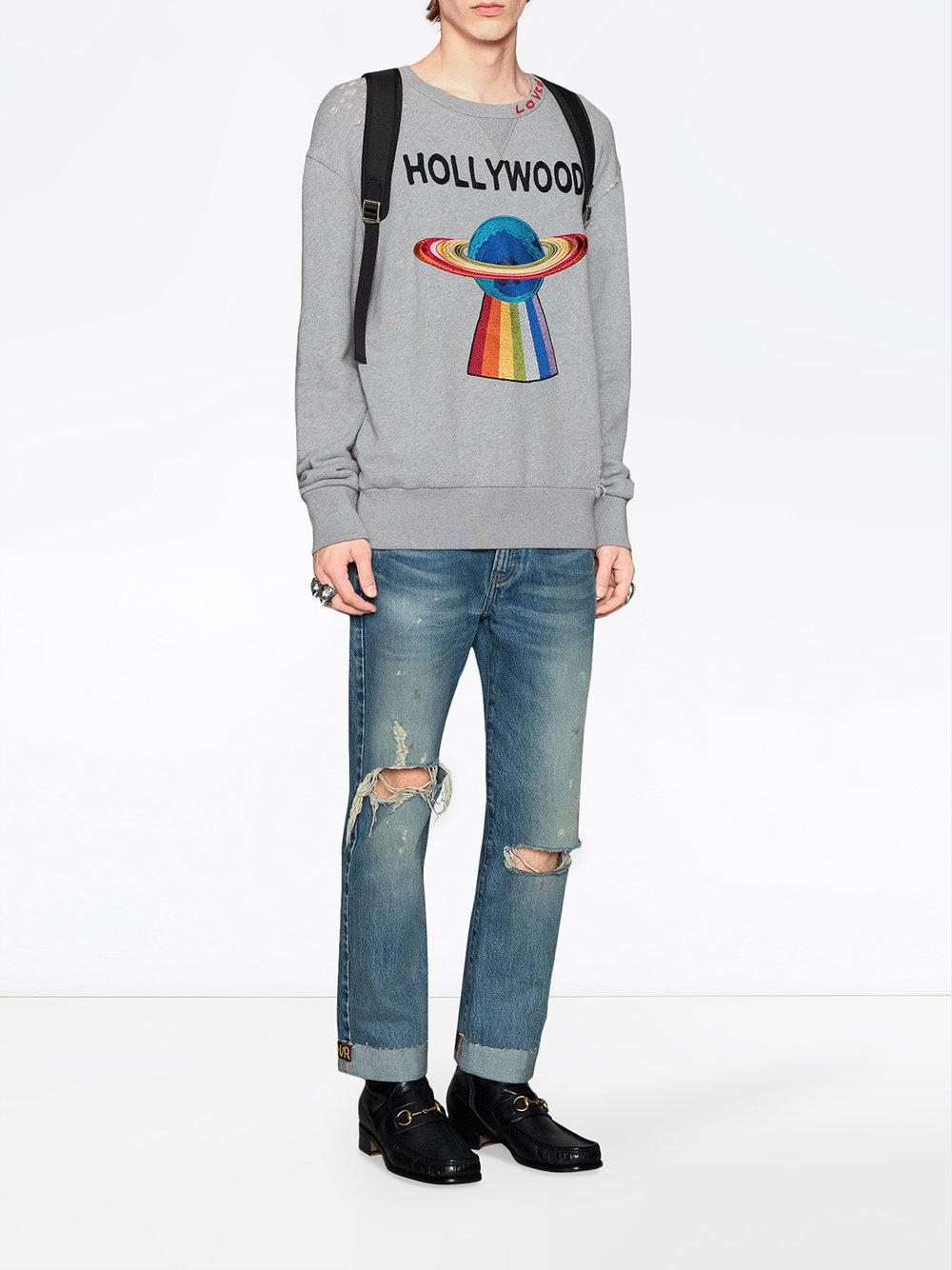 c06dd111358 Lyst - Gucci Cotton Sweatshirt With Planet in Gray for Men