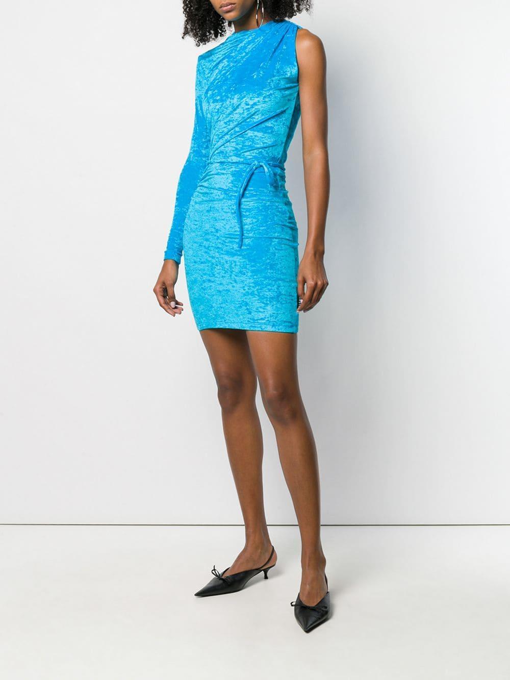 5d1605d9d2e Balenciaga Draped Mini Dress in Blue - Lyst