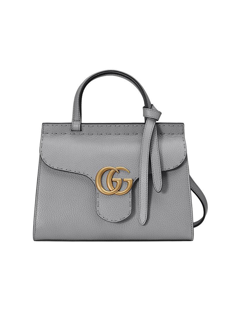 147da2e9c9e Lyst - Gucci Gg Marmont Leather Top Handle Mini Bag in Gray