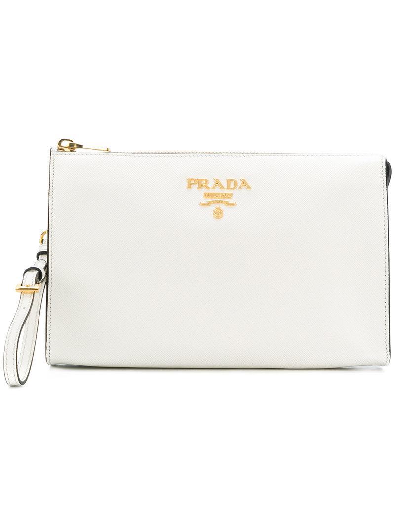 adb863add5 Prada - White Logo Plaque Clutch Bag - Lyst. View fullscreen