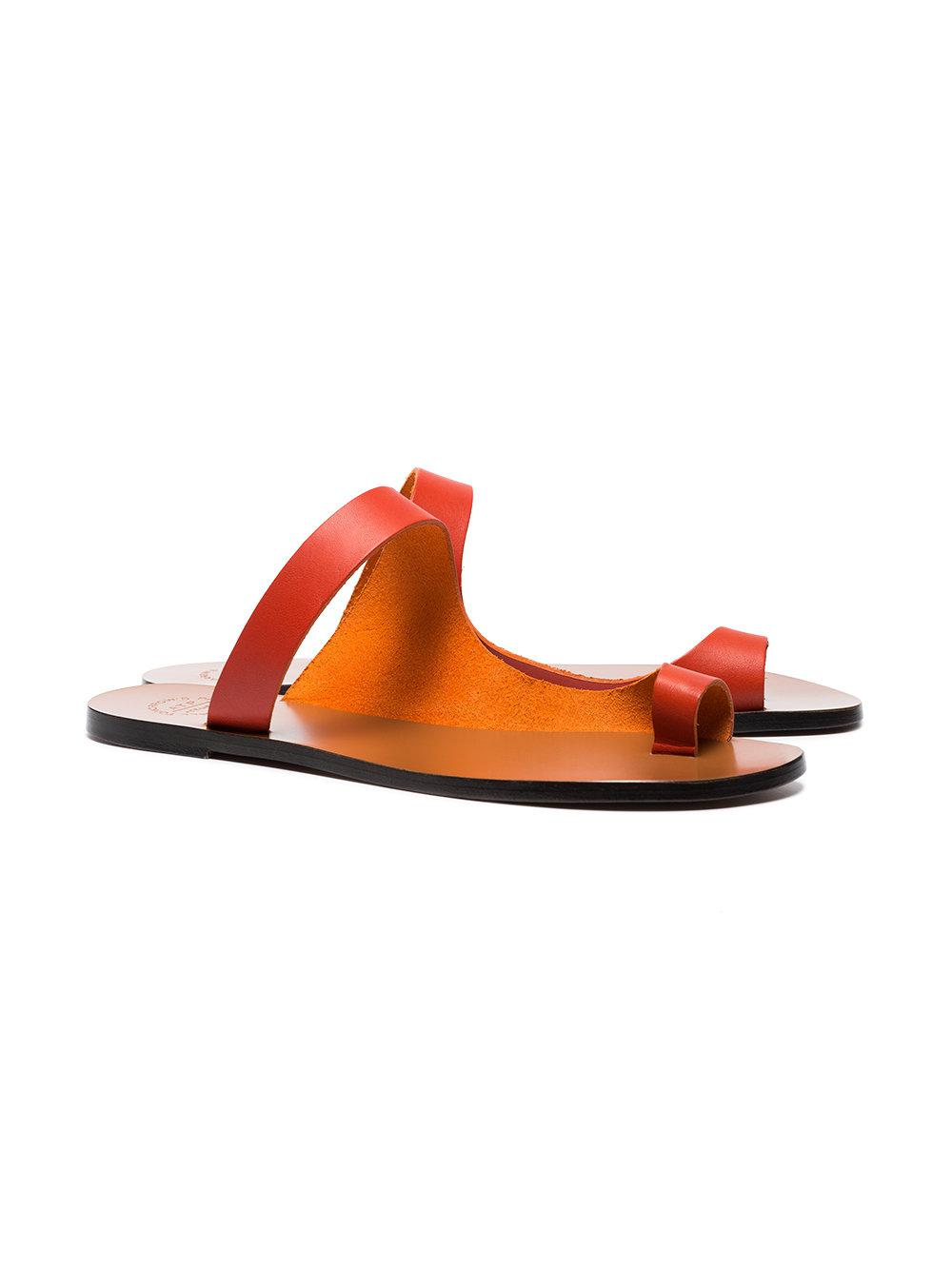 a54be9105be5bd Lyst - Atp Atelier Lava Red Dina Vacchetta Leather Sandals