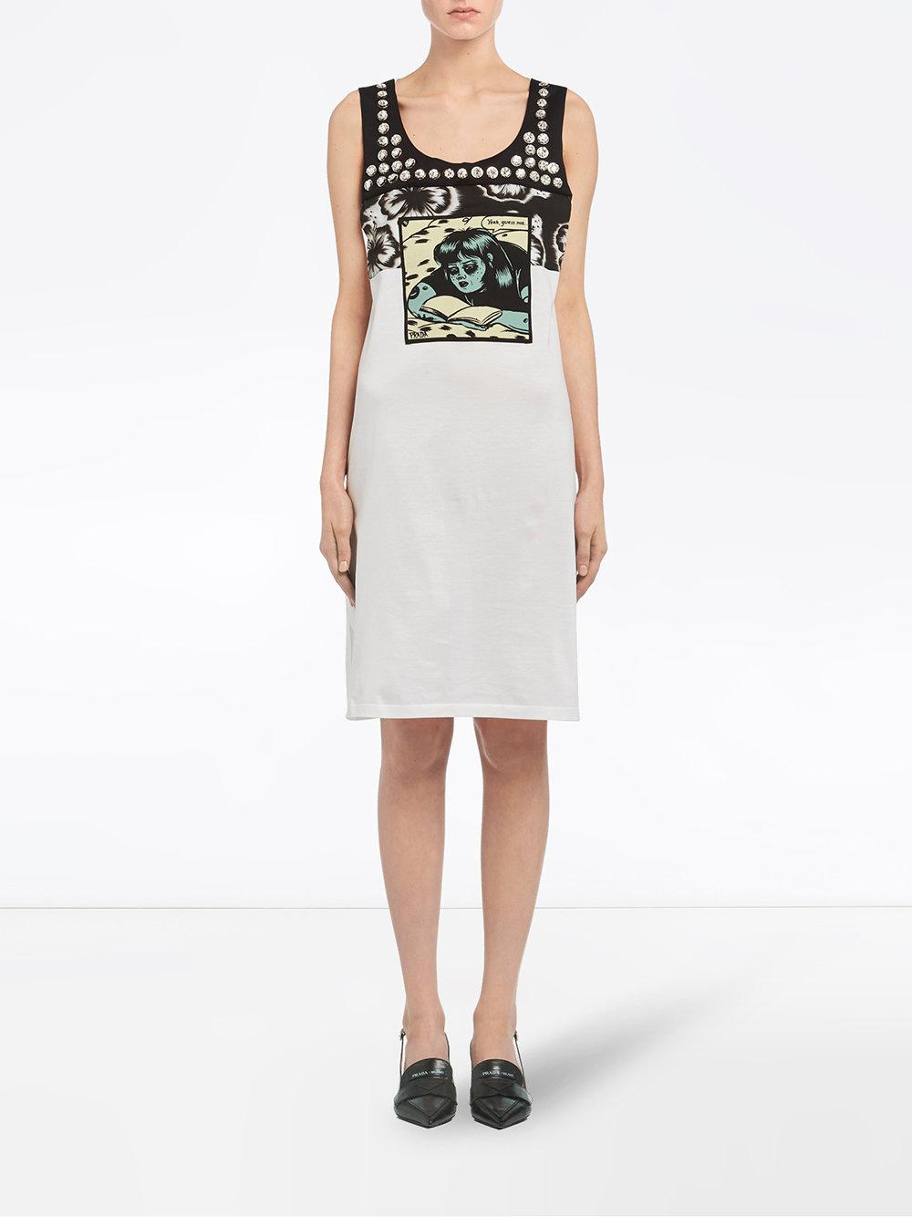 embellished comics print dress - White Prada feHYrojmS5