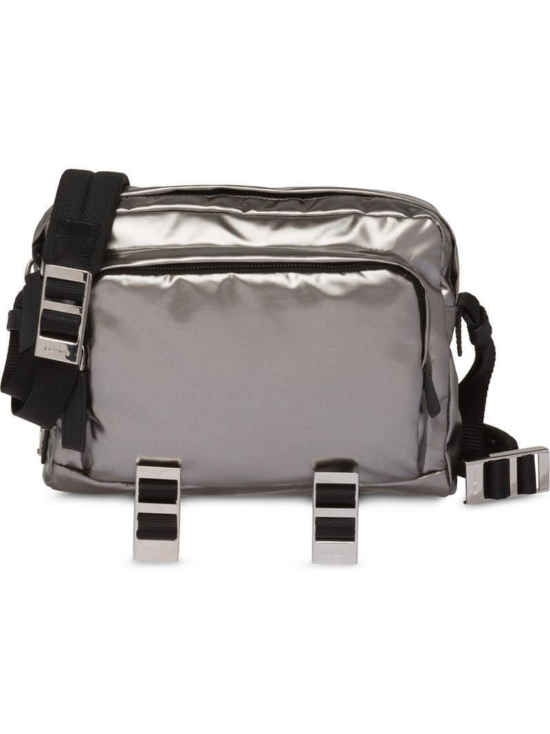 339112416f67de Prada Technical Fabric Messenger Bag in Metallic for Men - Save 24 ...