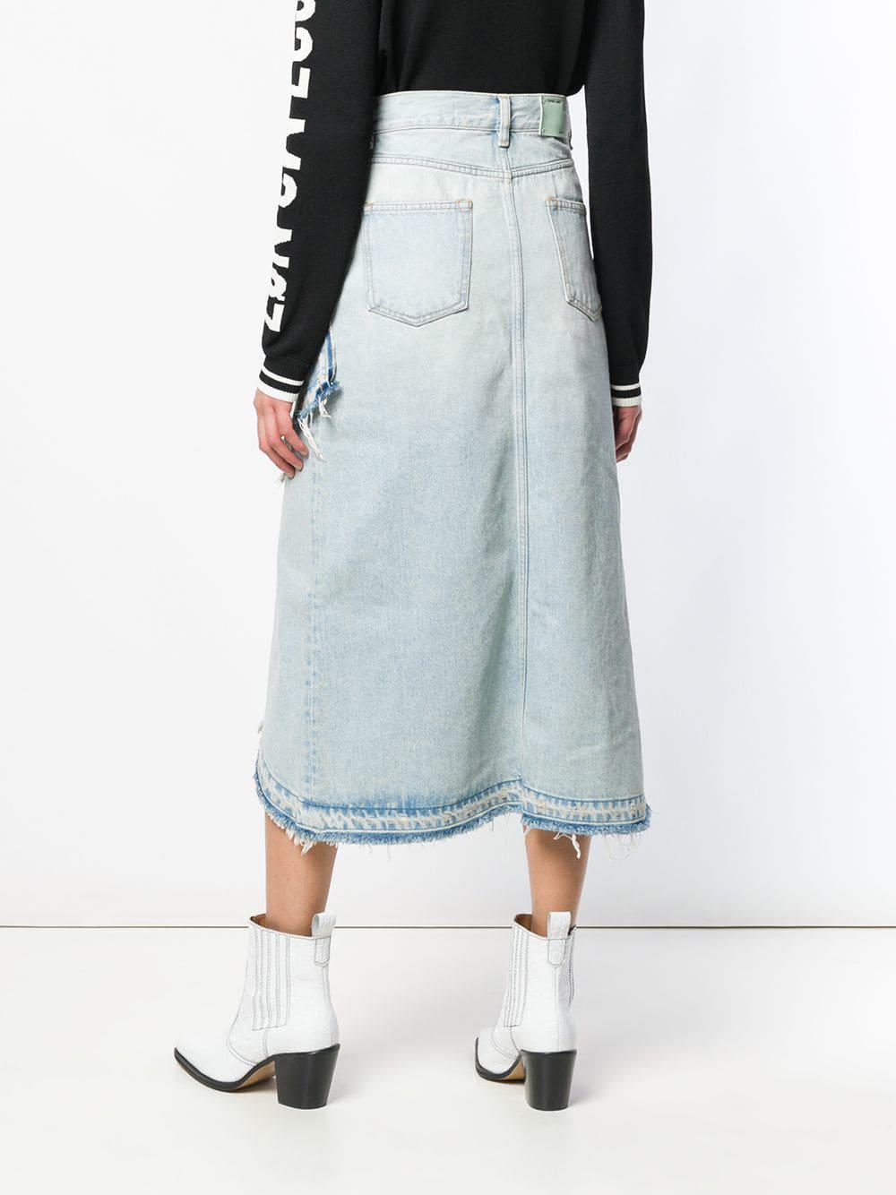 e70d85aad0 Off-White c/o Virgil Abloh - Blue Asymmetric Denim Skirt - Lyst. View  fullscreen