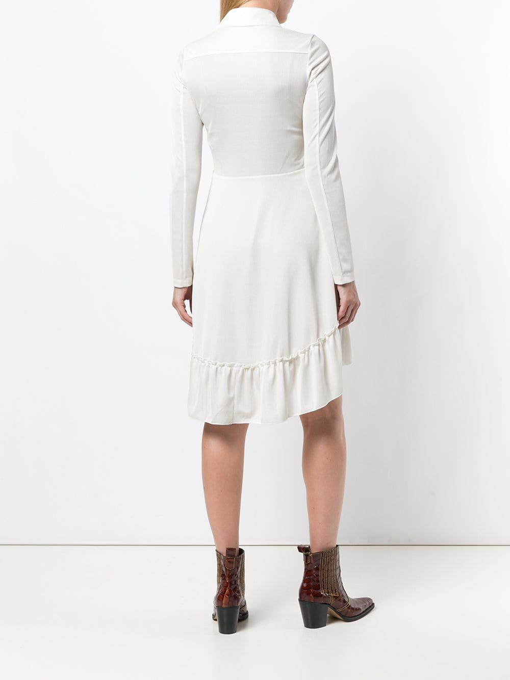See By Chlo Ruffle Detail Flared Dress In White Lyst Frilly Laser Cut Longdress View Fullscreen