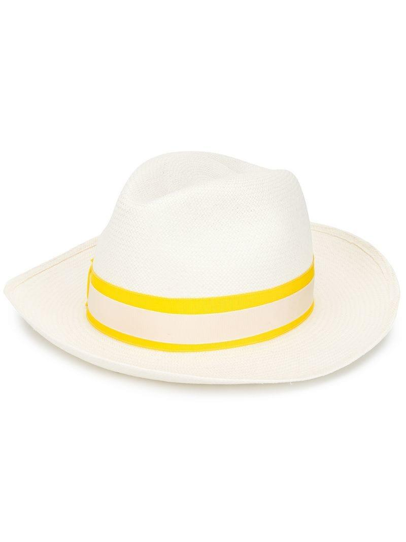 Borsalino Panama Hat With Bow Detail in White - Lyst 97478b5e769a