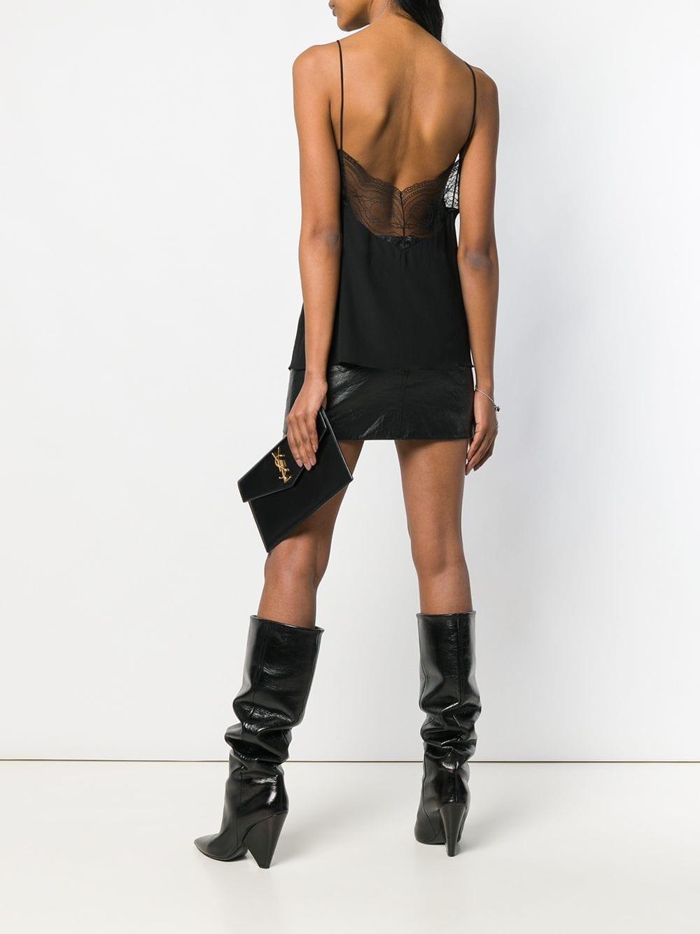 c91d72809c25a Lyst - Saint Laurent Envelope Clutch Bag in Black