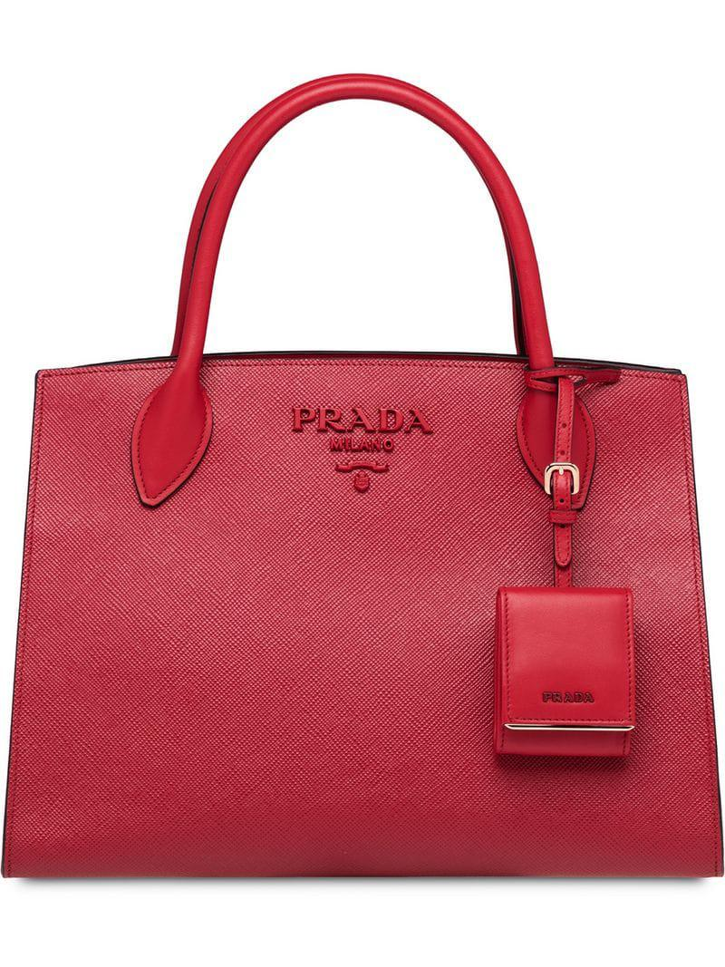 b6a3cfcd7f75 Prada - Pink Bibliotheque Tote - Lyst. View fullscreen